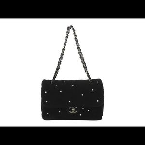 CHANEL Cc Pearl Embellished Black Shoulder Bag